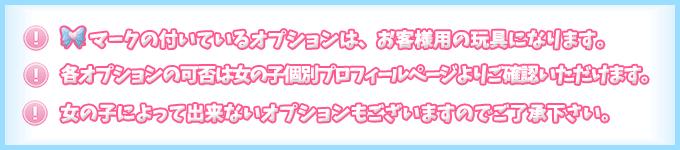 ◆マークの付いているオプションは、お客様用の玩具になります。各コースの可否は女の子個別プロフィールページよりご確認いただけます。女の子によってできないコースもございますのでご了承下さい。